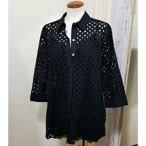 Foxcroft Button Up Black Cotton Eyelet Tunic Top